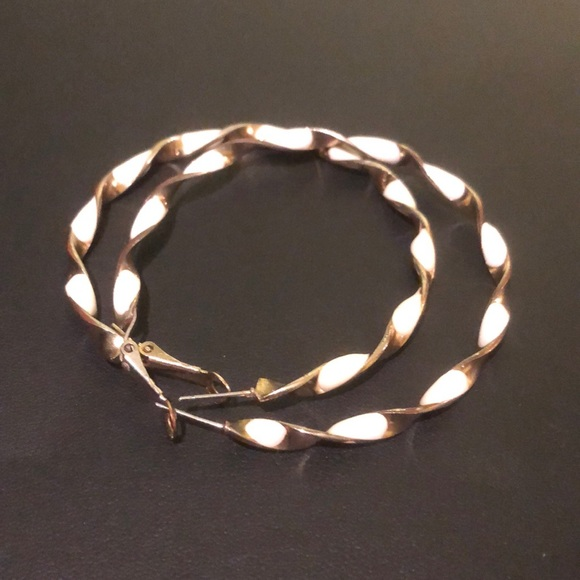 White enamel and gold hoops